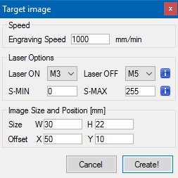 Target Image Size and Options – LaserGRBL